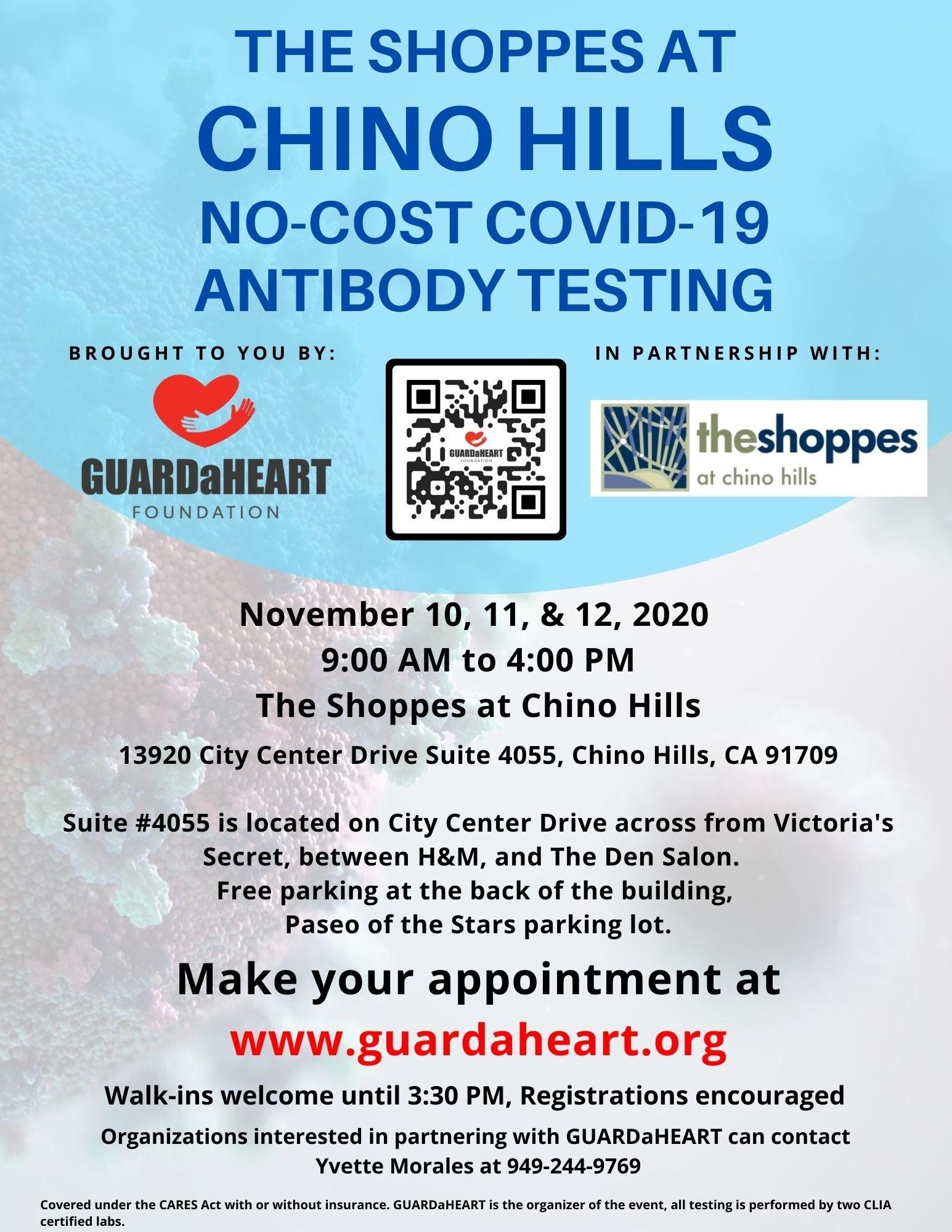 The Shoppes at Chino Hills - GAH No Cost COVID-19 Antibody Testing Nov 10-12, 2020 --